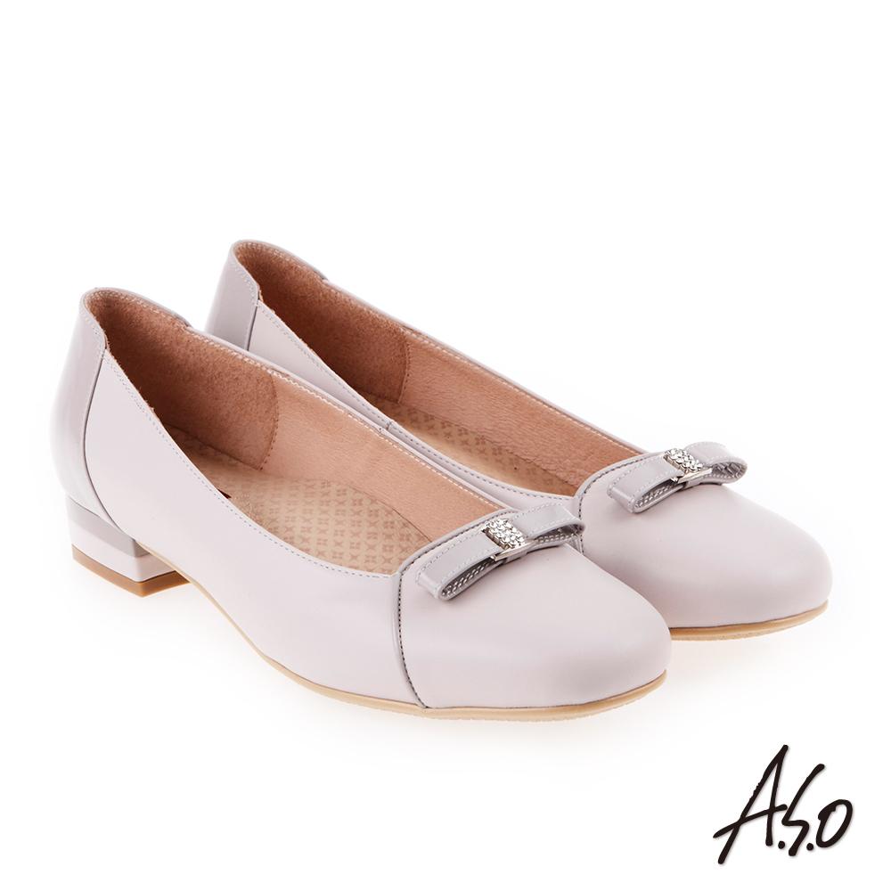A.S.O 雅緻魅力 職場通勤立體蝴蝶釦飾低跟包鞋 淺紫