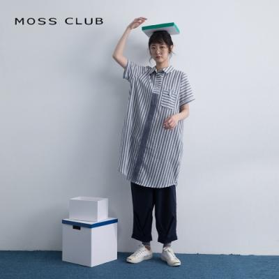 【MOSS CLUB】條紋拼接造型-洋裝(藍色)
