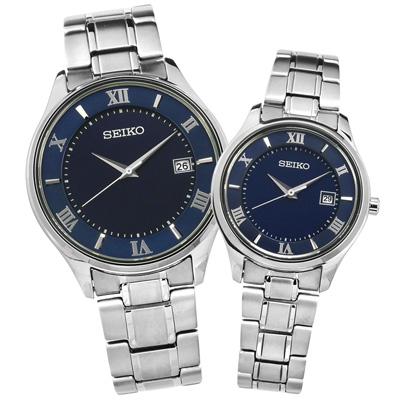 SEIKO 太陽能藍寶石水晶日期鈦金屬手錶-深藍色/39mm+29mm
