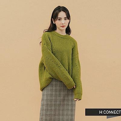 H:CONNECT 韓國品牌 女裝 - 落肩羅紋針織上衣 - 綠