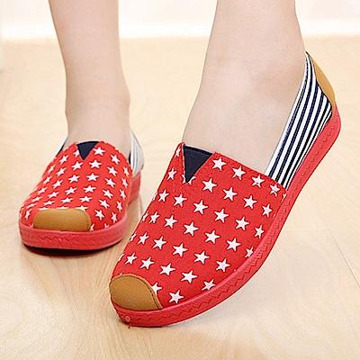 韓國KW美鞋館 幸運驚喜星星撞條圖騰休閒鞋-紅色