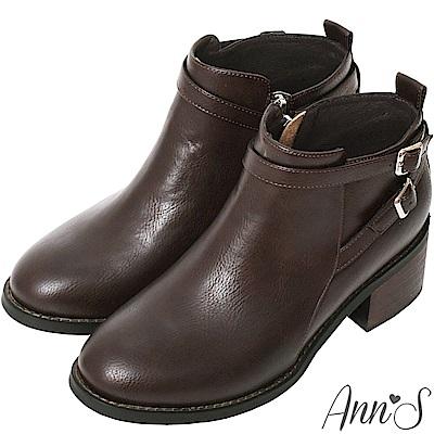Ann'S好走首選-5cm交叉細扣帶粗跟短靴-咖(版型偏大)