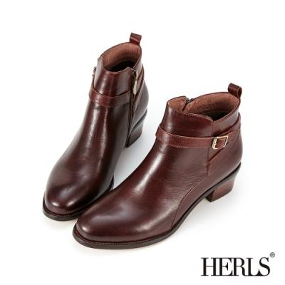 HERLS短靴-歐洲進口牛皮後交叉皮帶釦鐶粗跟短靴-深棕色