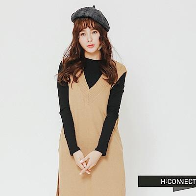 H:CONNECT 韓國品牌 女裝-V領長版針織背心-卡其