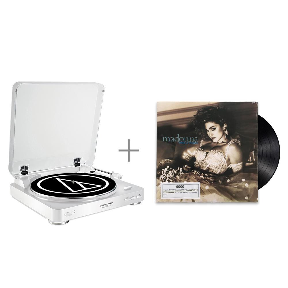 鐵三角 AT-LP60 WH 黑膠唱盤 與 瑪丹娜 / 宛如處女 黑膠唱片 組合