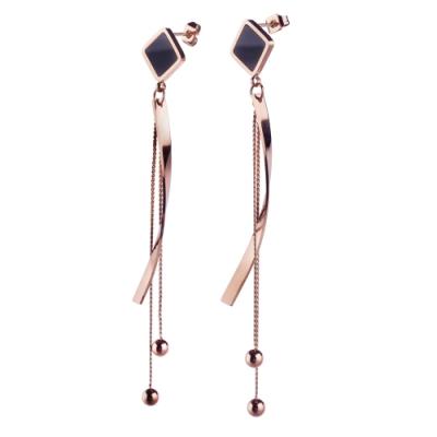 tic tac toe 垂吊式白鋼耳環系列-玫瑰金圓珠流蘇 TR-2112RG