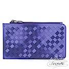 La Poche Secrete 編織小羊皮折疊卡夾零錢包-靚麗紫