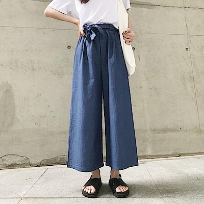 La Belleza水洗布鬆緊腰附綁帶薄料牛仔闊腿褲寬褲