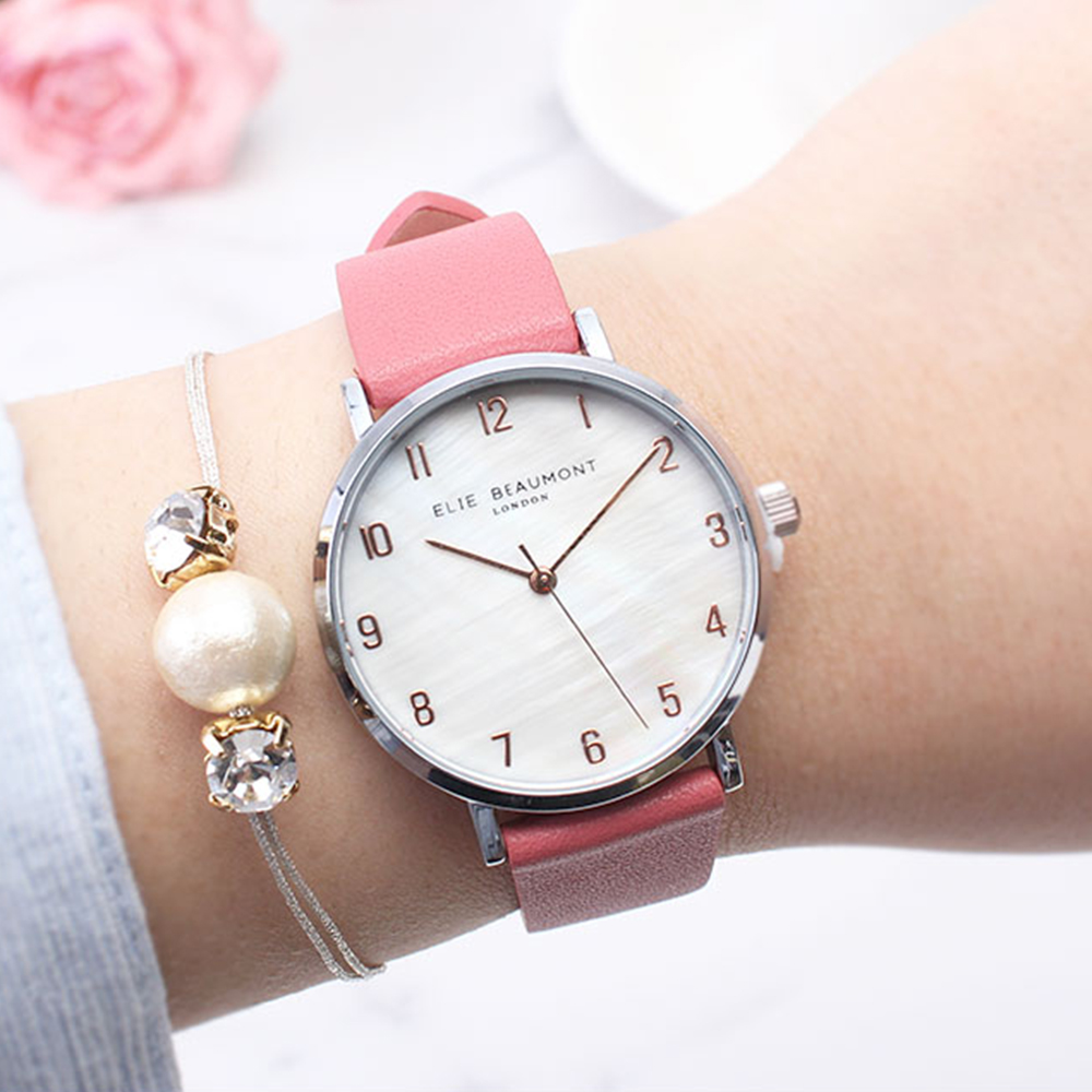 Elie Beaumont英國時尚手錶FITZROVIA珍珠母貝系列 紅色X銀33mm