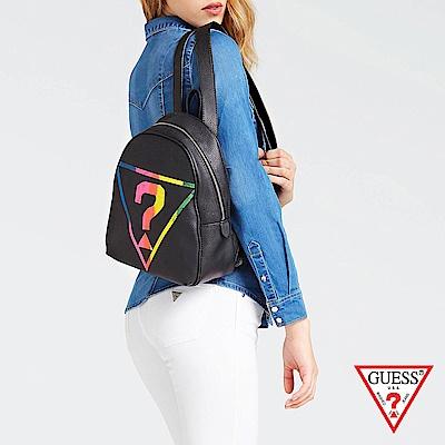 GUESS-女包-多色經典倒三角問號後背包-黑