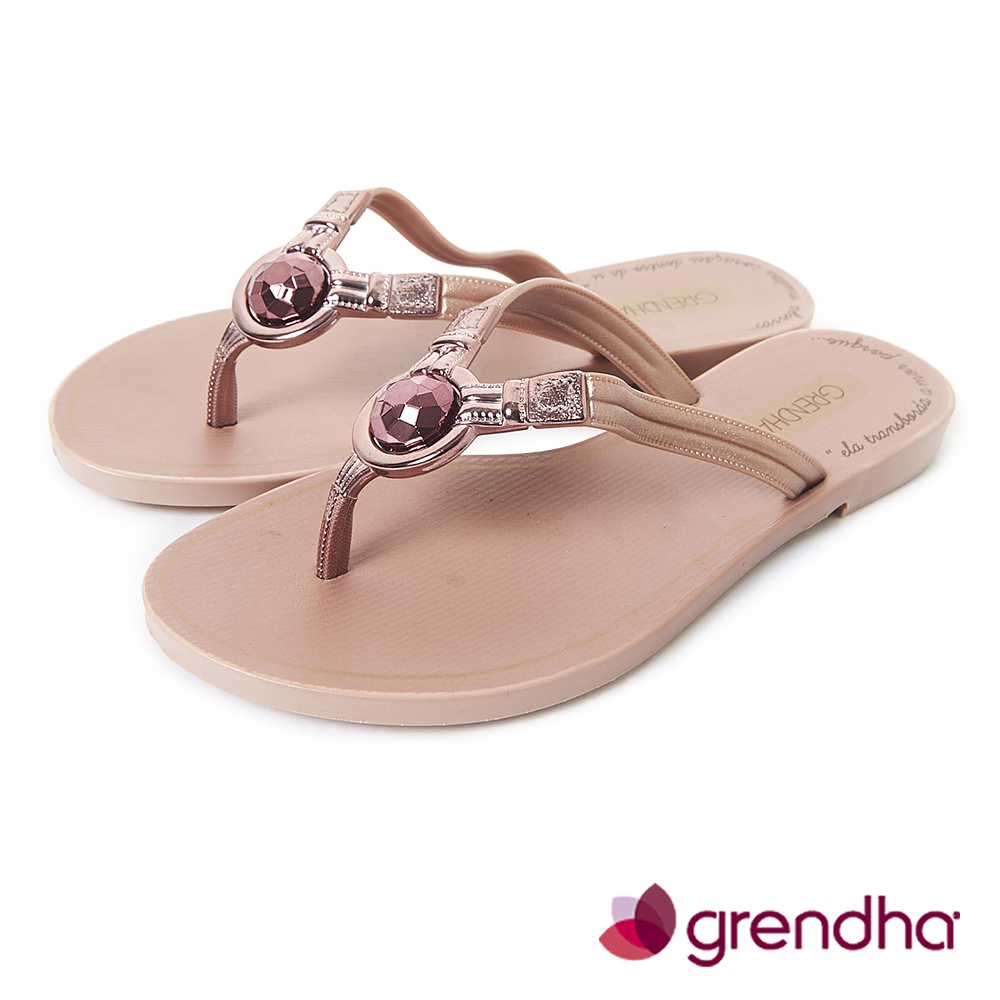 Grendha 耀眼奪目人字帶夾腳鞋-玫瑰金