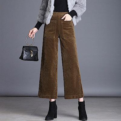 前口袋燈芯絨高腰直筒闊腿褲M~4XL(共二色)-WHATDAY