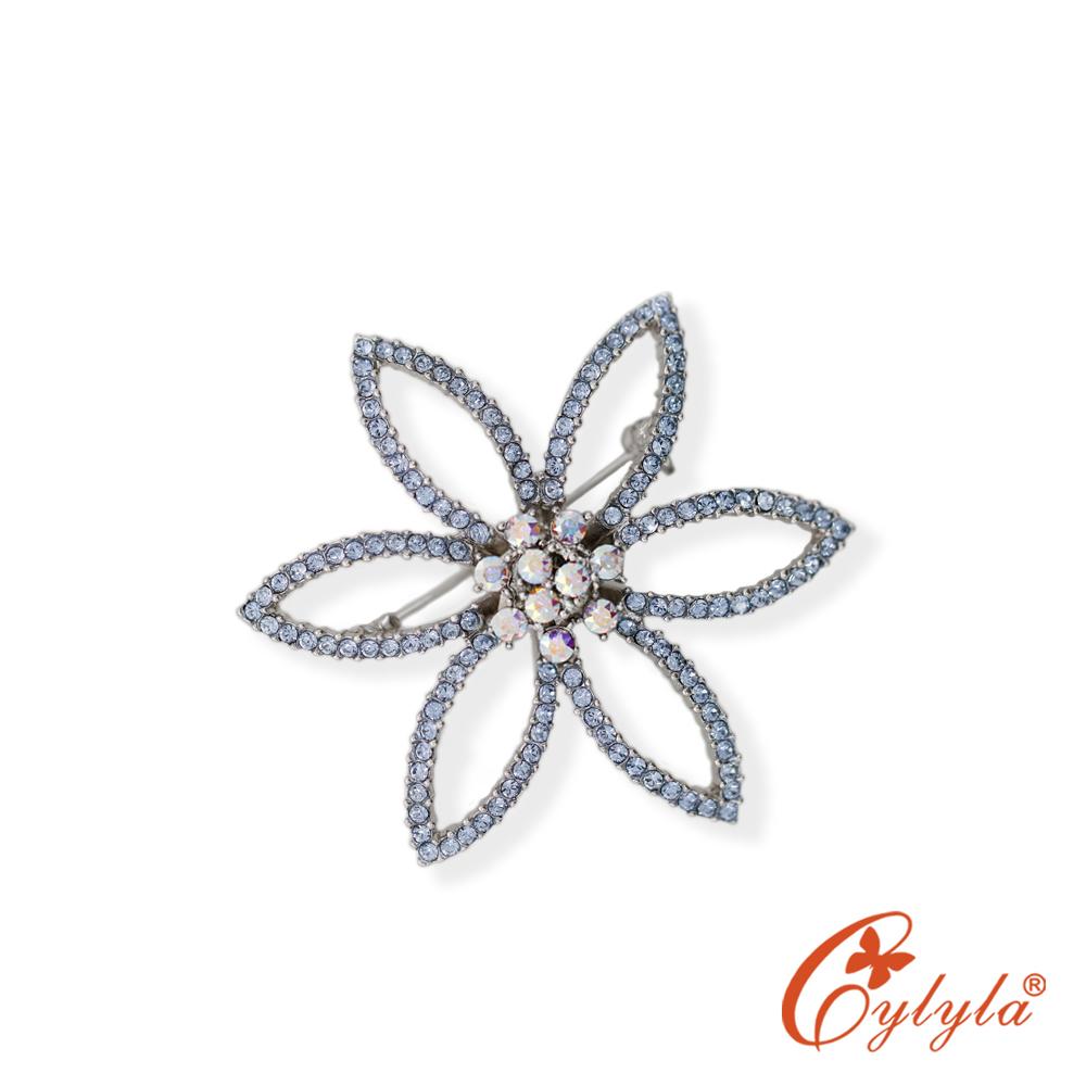 Cylyla思琳娜 六星芒花奧地利水晶胸針B-4992 @ Y!購物