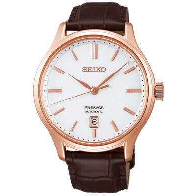 SEIKO 精工 典藏真皮機械手錶SRPD42J1-白X玫瑰金框/42mm