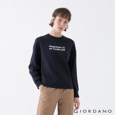 GIORDANO 女裝OUR HOME落肩上衣 - 02 標誌海軍藍