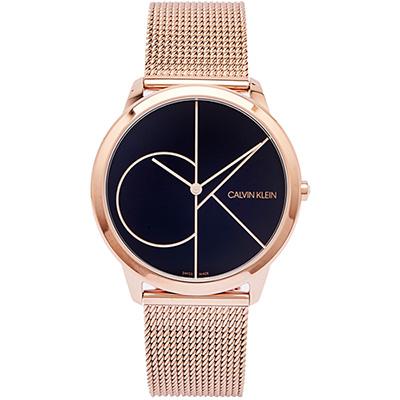 CK 極簡LOGO風格米蘭帶手錶(K3M21621)-黑面x玫瑰金色/40mm