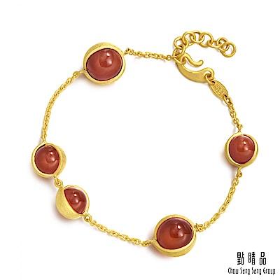點睛品 g collection 純金紅瑪瑙手鍊 黃金手鍊