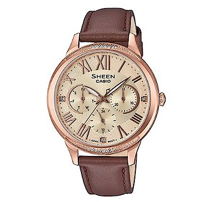 SHEEN 優雅迷人風采羅馬數字時刻皮帶腕錶-黃面(SHE-3058PGL-9)/36mm