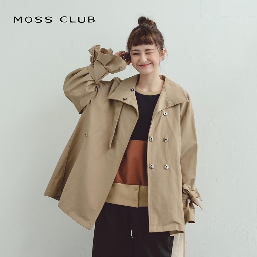 【MOSS CLUB】綁帶袖口設計傘狀-外套(咖色)