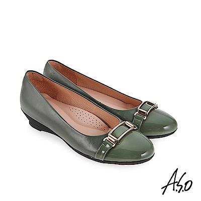 A.S.O 義式簡約 亮皮革拼接休閒鞋 淺綠