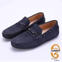 Amber 金屬馬蹄釦臘感牛皮樂福休閒鞋-藍色