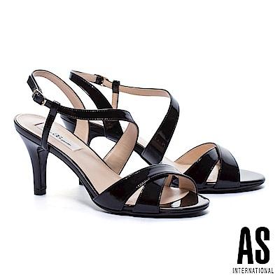 涼鞋 AS 時尚性感繞帶牛軟漆皮高跟涼鞋-黑