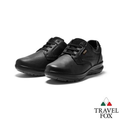 TRAVEL FOX(男) 亞力斯 歐洲進口全牛皮綁帶減壓休閒鞋 -著墨黑