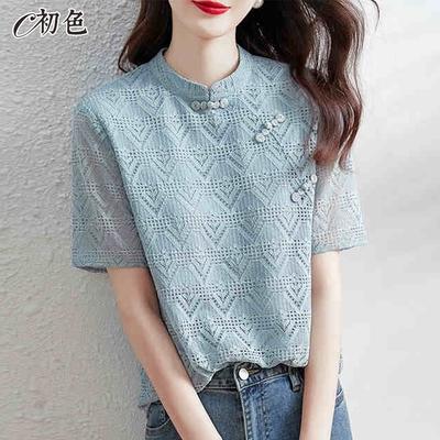 初色  中國風氣質鏤空上衣-淺藍色-(M-2XL可選)