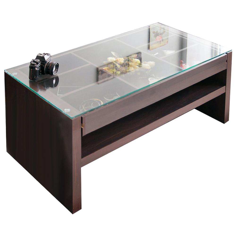 澄境 日式經典大收納玻璃茶几桌(90x45x41.5cm)-DIY
