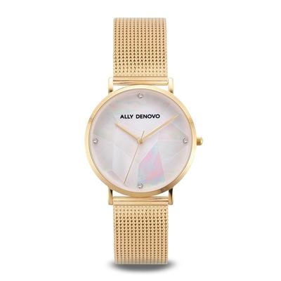 【ALLY DENOVO】Gaia Pearl琉璃米蘭帶腕錶金色36mm(AF5020.3)