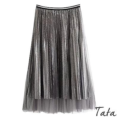 金屬亮面格百褶紗裙 共二色 TATA