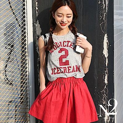 套裝 字母數字印花背心+鬆緊褲裙式短褲 N2