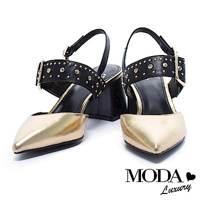 低跟鞋-MODA-Luxury-獨特金屬鉚釘方釦造