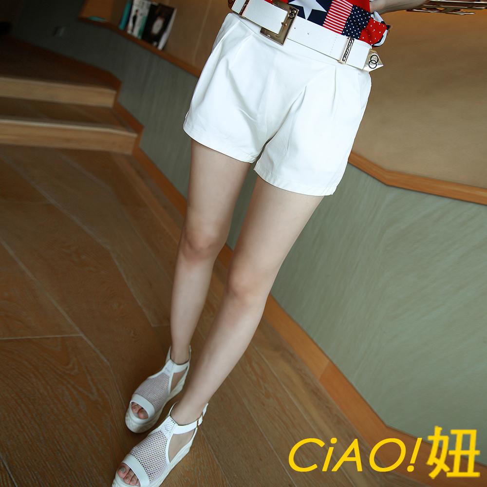 皮帶釦交叉感褲頭短褲 (共二色)-CiAO妞