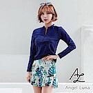 【AngelLuna日本泳裝】深藍水母衣黃色印花褲裙三件式比基尼泳衣