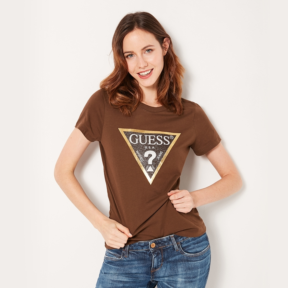 GUESS-女裝-閃亮經典倒三角logo短T-棕 product image 1