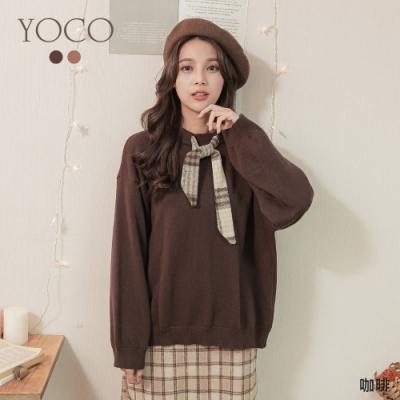 東京著衣-YOCO 單純美好領結重磅寬鬆針織上衣