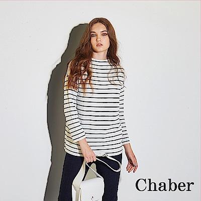 Chaber巧帛 微立領條紋印花針織造型上衣(兩色)-白