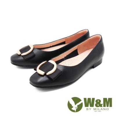 W&M (女)方頭金圓釦荔枝紋娃娃鞋 包鞋 女鞋 -黑(另有奶茶色)