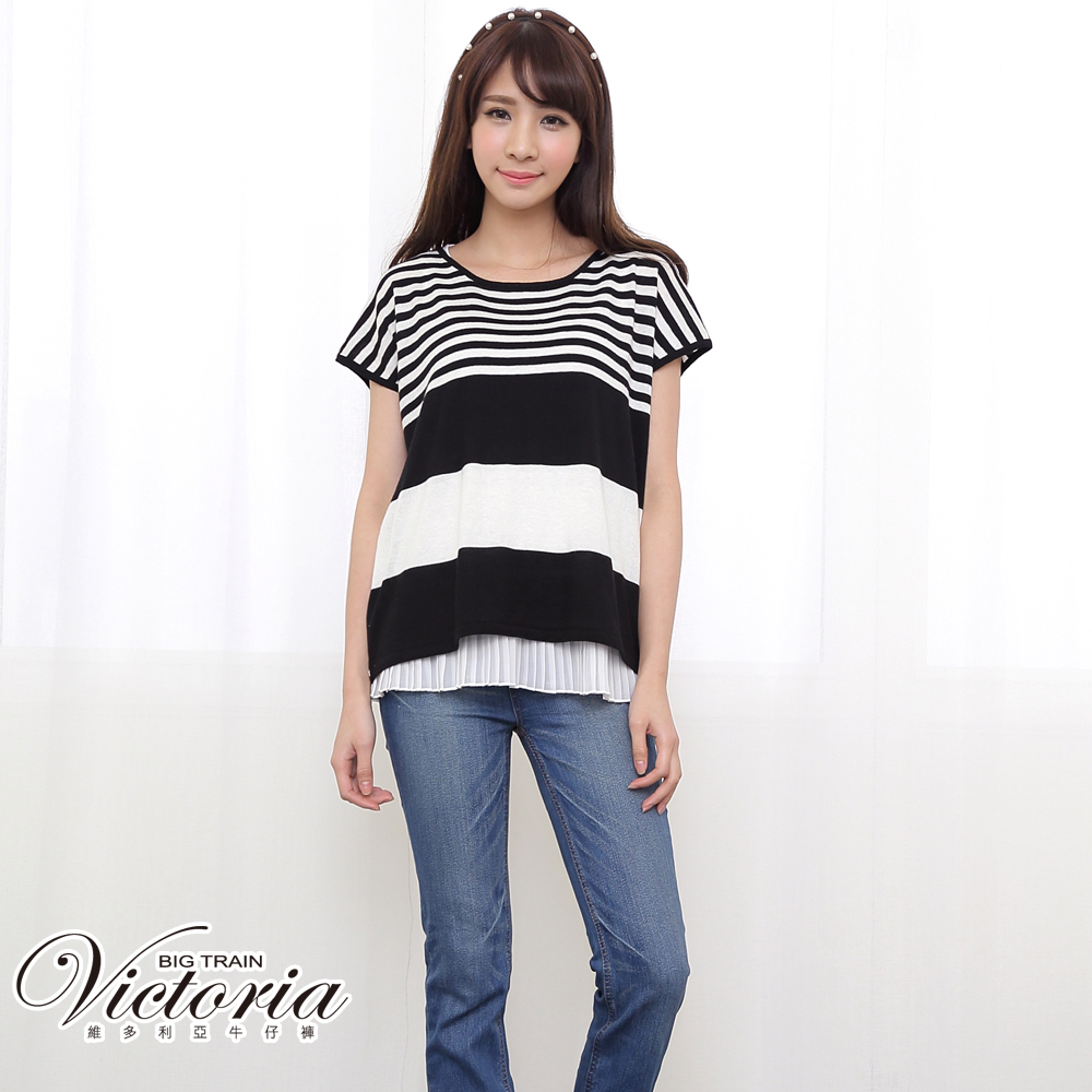 Victoria 中高腰小直筒褲-女-中藍