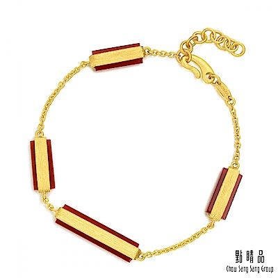 點睛品g collection 矩形紅瑪瑙 黃金手環