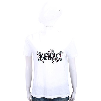 KENZO 花卉藤蔓字母白色棉質短袖T恤