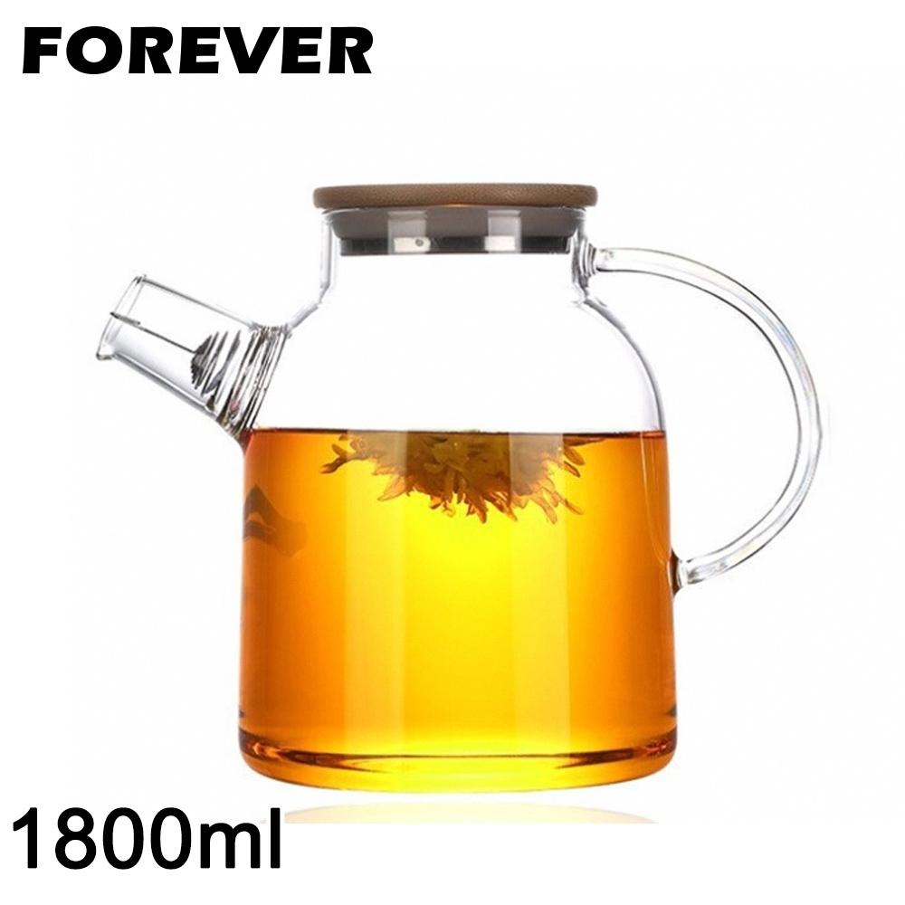 日本FOREVER 日式竹蓋耐熱玻璃把手花茶壺1800ML