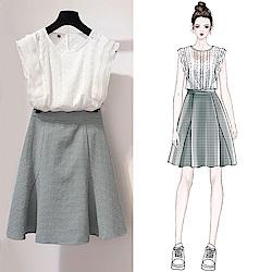氣質百搭襯衫+短裙套裝