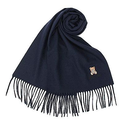 MOSCHINO 經典刺繡TOY小熊羊毛圍巾-深藍色