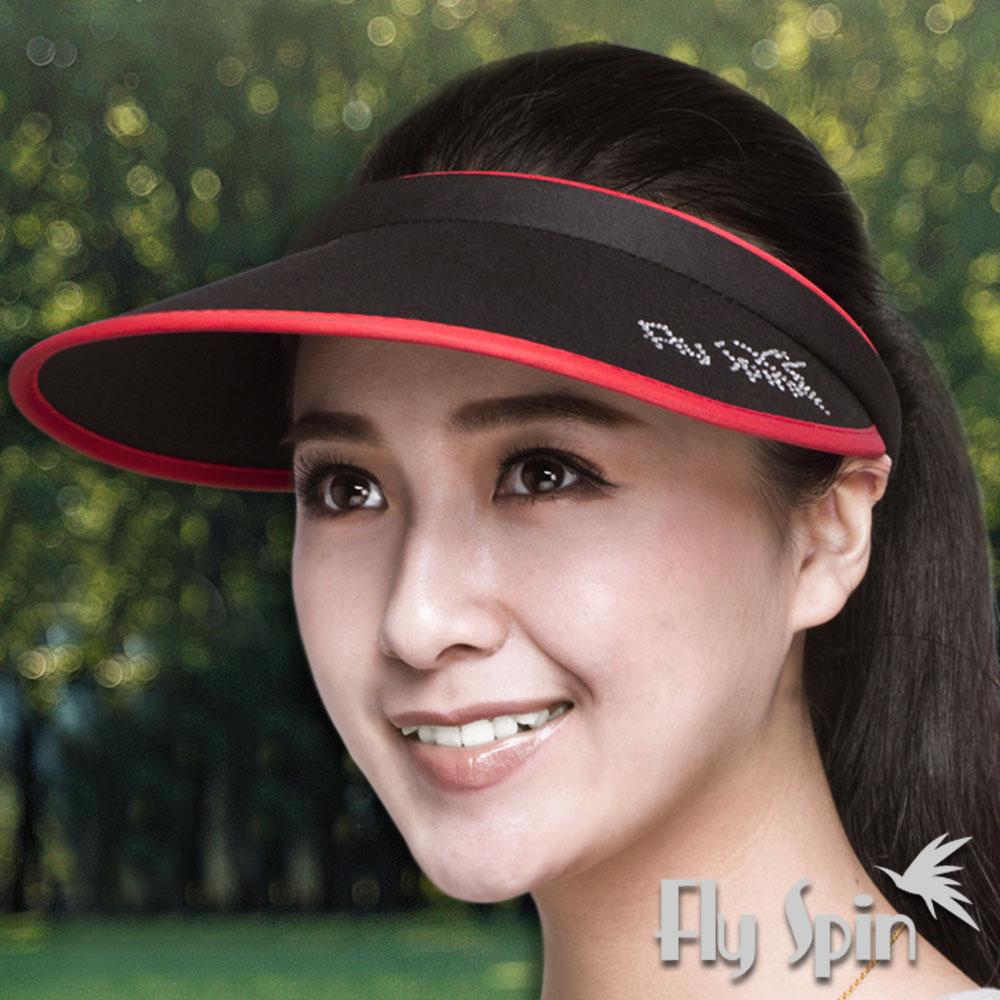 FLYSPIN 抗UV燙鑽戶外慢跑自行車髮夾空心帽