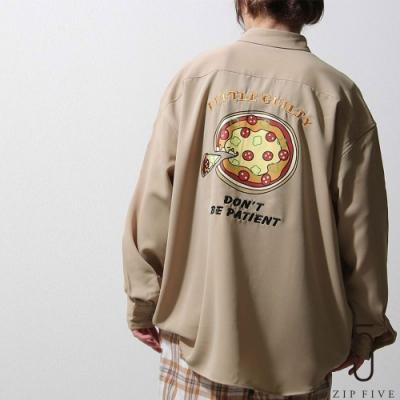 ZIP日本男裝 手寫風插畫印刷LOGO刺繡寬版襯衫 (3色)