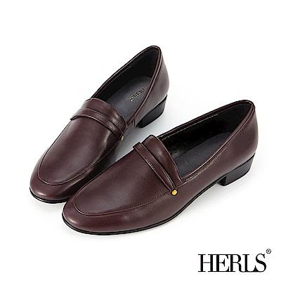 HERLS 溫柔素雅 內真皮鉚釘橫帶低跟樂福鞋-紅棕色