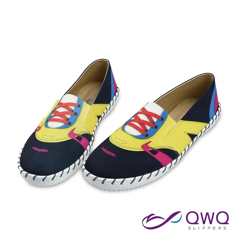 女款懶人鞋防潑水彩繪-輕量休閒鞋柔軟止滑-荻非輕裝-爵士黑