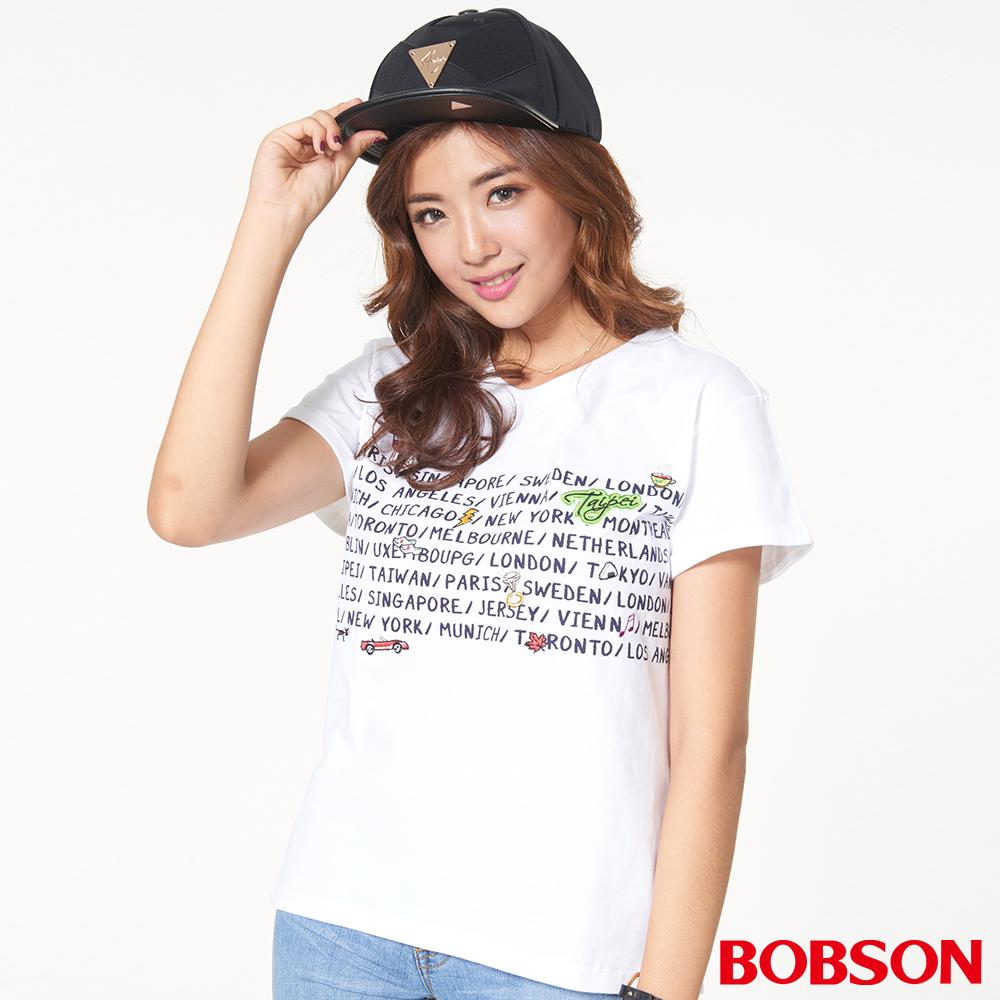 BOBSON 女款字母圖案寬版上衣